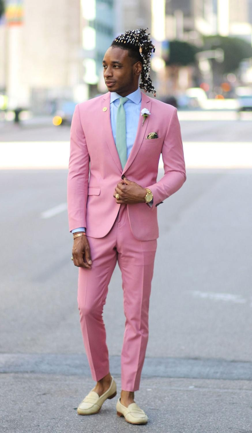 Custom Made Groomsmen Notch Lapel Groom Tuxedos Pink Men Suits Wedding/Prom Best Man Blazer (Jacket+Pants+Tie) Z672