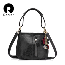 REALER brand new arrival women genuine leather handbag ladies melon grain pattern shoulder bag fashion women small hobos bag(China)