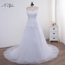 ADLN Strapless Corset Plus Size Mermaid Wedding Dress 2017 White/Ivory Tulle Applique Bridal Gown with Lace-up Vestidos de Novia(China)