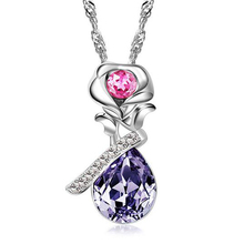 Newest Purple Crystal Pendant Necklaces Charms Water Drop Diamante Fashion Jewelry Angel Tear Choker Necklace Girlfriend Gift