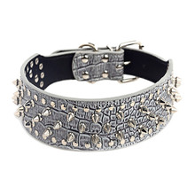 Wide Cool Sharp Spiked Studded Leather Dog Collars S M Sizes Large Breeds Pitbull Doberman halsband hond correa perro & ST87(China)