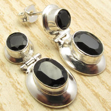 BLACK ONYX HINGE Stud Earrings !   Silver Plated Over Solid Copper 2.5 cm