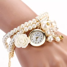 Fashion Ladies Female Clock Faux Pearl Women Watch Rose Bracelet WristWatches Analog Quartz Round Dial Watches