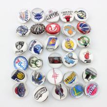30pcs/lot Fashion Basketball Mix NBA 30 Team Snap Button Sport Charms for DIY 18mm Snap Bracelet Necklace Jewelry