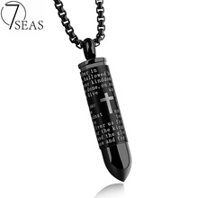 7SEAS Punk Stainless Steel Men Hollow Bullet Cross Necklace Pendant Black/Silver/Gold Colors Box Chain Man Party Jewelry 7S1137(China)