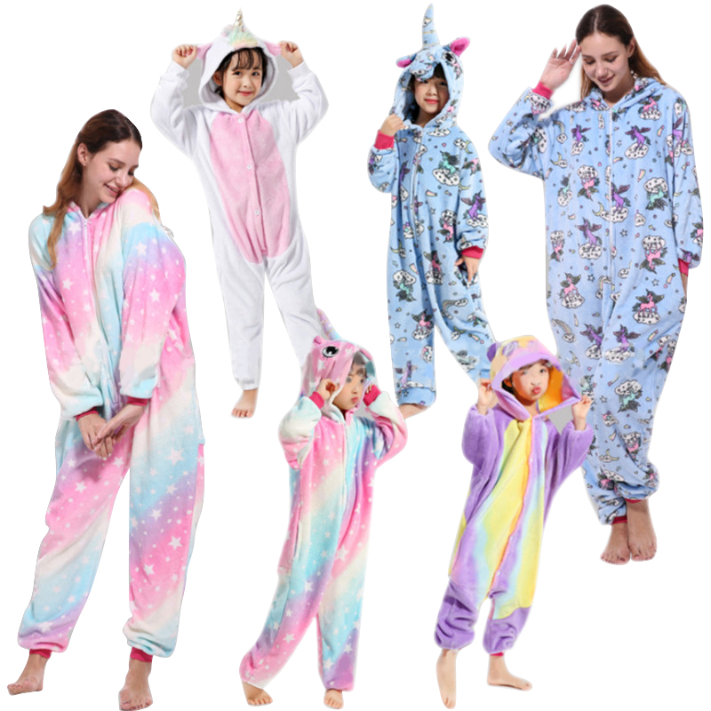 Pink Unicorn Pajamas Sets Flannel Kids Animal Pajamas Winter Nightwear Kigurumi Zipper Sleepwear for Women Men Adults Halloween(China)