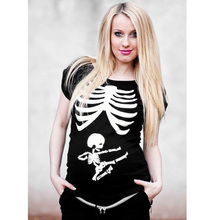 New Top Tees Women T Shirts Funny Pregnant Mom Kicking Baby Skull Skeleton Mother Maternity Tshirt Sexy Cotton Short Sleeve(China)