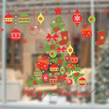 Merry Christmas Festival Decorative Stickers Living Room Shop Glass Decoration Home Decals Diy Xmas Tree Wall Mural Art(China)