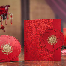 100Pcs Red Rose Flower Laser Cut Blank Wedding Invitation Card Greeting Card Postcard Custom Printing Event Party Supplies(China)