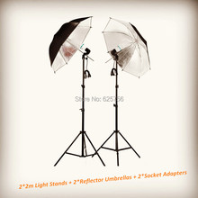 Free Shipping + Photographic Equipment Clothing Shoot Photography Set 2*2m Light Stands+2*Reflector Umbrellas+2*Socket Adapters