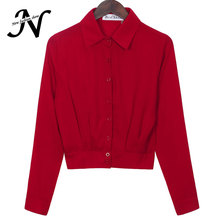 Black Red White Shirt Spring 2017 New Arrival Korean Fashion Shirts Women Buttons Casual Slim Chiffon Blouse With Long Sleeve
