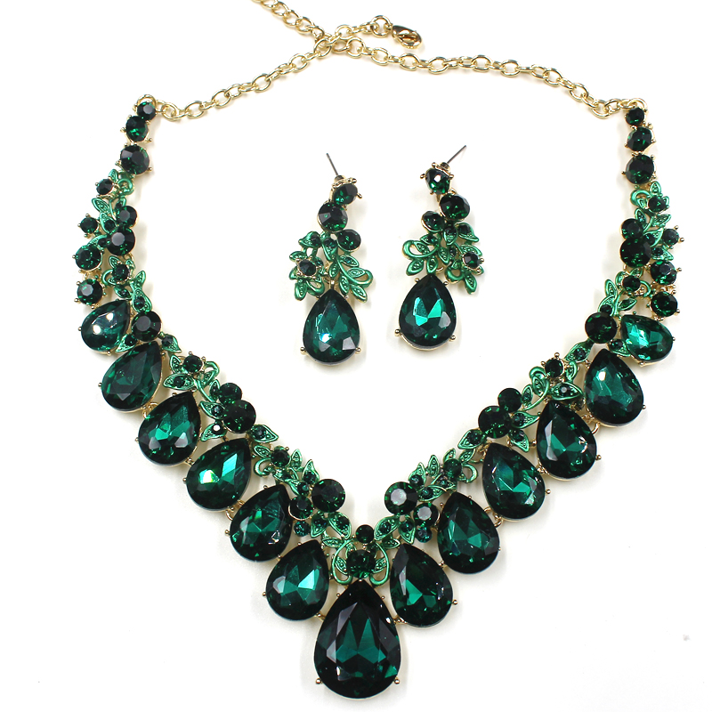 High quality wedding jewelry sets bridal silver necklace and earrings crystal rhinestone women party dress jewerly accessories 4