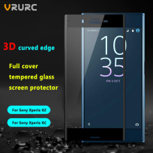 Vrurc 3D Curved edge Full Cover Tempered Glass Screen Protector For Sony Xperia XZ X Compact Protective Film For Xperia XC