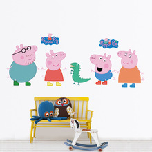 Pink Cute Peppa Pig Wall Stickers George Cartoon Home Decor For Kids Girl Baby Bedroom Animal DIY Removable Vinly Wallpaper(China)