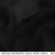 100% Silk Chiffon Georgette Natural Silk 12 momme Plus Size 140cm Sewing Material China Silk Factory Direct Sale 03 Black(China)