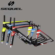 SEQUEL brand carbon road bicycle frame carbon road frame BB30 or BSA carbon road bike frame seatpost clamp headset framesets
