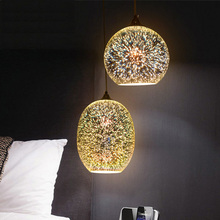 Fashion creative 3D stained glass chandelier with personalized Art Deco restaurant and bar table fireworks exhibition