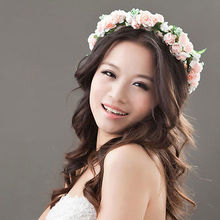 Fashion Stylish Flower Garland Hairband Floral Bridal Headband Wedding Prom flower headband Hair Accessories