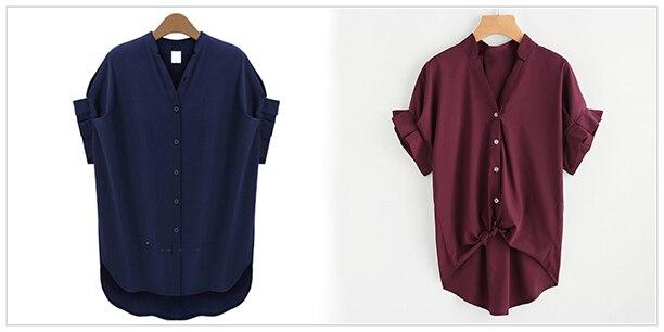 HTB1Y6Z SpXXXXcxXpXXq6xXFXXX9 - Women Summer Chiffon Blouse Plus Size Short Sleeve Casual Shirt