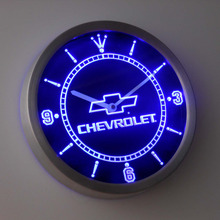 nc0817 chevrolet Neon Sign LED Wall Clock