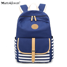 Brand Design Navy Stripes Unisex Canvas Backpacks Teenager School Bags Patchwork Printing Travel Backpack Mochilas Feminina