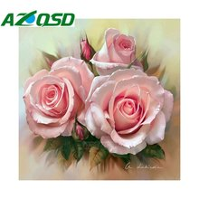 AZQSD 3D diy Diamond Painting Cross Stitch flower Square Full Decorative Diy Diamond Embroidery pink rose picture diy set BB4429