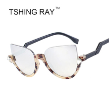 TSHING RAY New Half Frame Cat Eye Sunglasses For Women 2016 Crystal Mirror Sun Glasses Fashion Sunglasses Female Oculos UV400