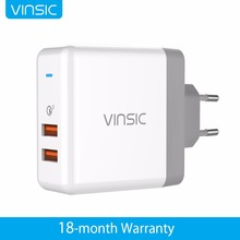 Vinsic 36W Quick Charge 3.0 QC3.0 Dual USB Wall Charger Travel Charger for iPhone/iPad Samsung Galaxy S7/S6/Edge Mi5 EU US Plug(China)
