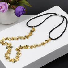 women fashion gold color plated sequins elastic headband punk head Chain hair accessories(China)