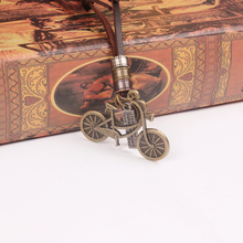 New Vintage Bronze 31 inch Long Genuine Leather Bike Necklace bijoux Lovely Bicycle Pendant Necklace Women Jewelry collier femme