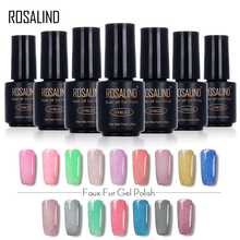 ROSALIND Black Bottle 7ML Faux Fur Effect P01-26 Gel Nail Polish 3D Gel Lacquer Nail Art Nail Gel Polish UV LED Varnish(China)