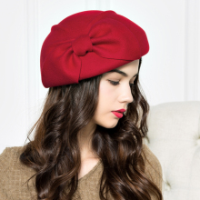 Lady New Wool Hat Women Autumn Stereo Bow Cap Woolen Hat Elegant Small British Style Dome Cap Girls Student Hat Promotion B-4266(China)