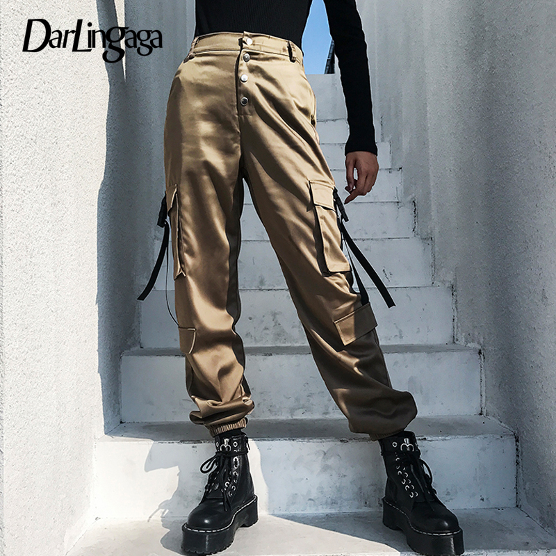 Darlingaga Streetwear high waist cargo pants women big pockets buttons loose track women's pants trousers 2019 bottom pantalon