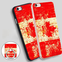 flag canada map leaf red Phone Ring Holder Soft TPU Silicone Case Cover for iPhone 4 4S 5C 5 SE 5S 6 6S 7 Plus