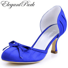 Sweet Girls High Heel Shoes A2100 Blue Round Toe Bow Pleated Satin Woman Bride Bridesmaid Wedding Bridal Pumps Woman Shoes