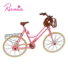 Rosana High Quality Detachable Plastic Bicycle Fashion Pink Bike with Basket and Helmet for Barbie Doll Toys Dolls Accessories(China)