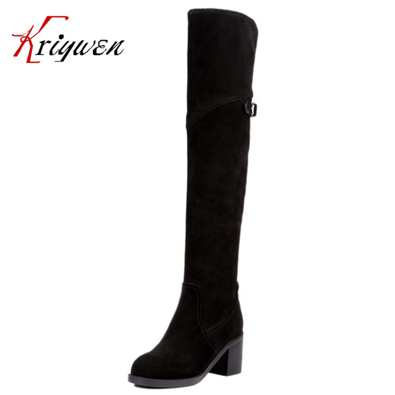 Fashion 2016 winter Women Sexy cow split nubuck leather High Thick 7cm high Heels Riding Boots Women Shoes Over The Knee Boots<br><br>Aliexpress