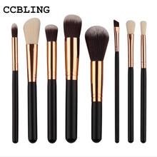 8 Pcs/set Makeup Brushes Set Make up Cosmetics Brush Eyeliner Eye shadow Eyebrow Lip Brush Cosmetic Tools(China)