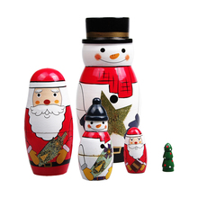 Best Christmas gift 5 layers Russion traditional Matryoshka wooden Snow man doll toys for kids