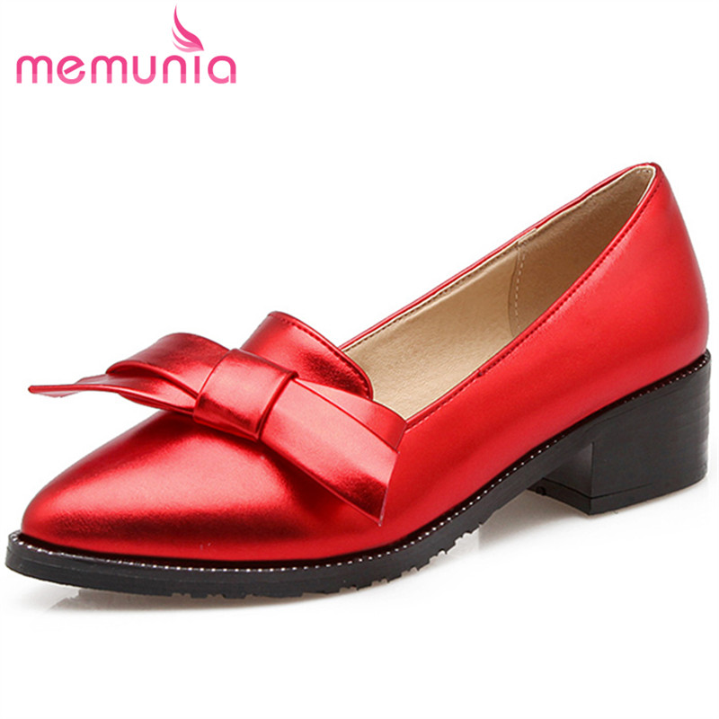MEMUNIA  2017 new arrive summer shoes women pumps shoes fashion bowknot low heel single shoes fresh simple pointed toe<br>
