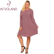 Buy IN'VOLAND Women Fit Knitted Dress Plus Size Autumn Winter Long Sleeve Casual Loose Party Tunic Sweater Dresses Oversized XL-4XL for $23.72 in AliExpress store