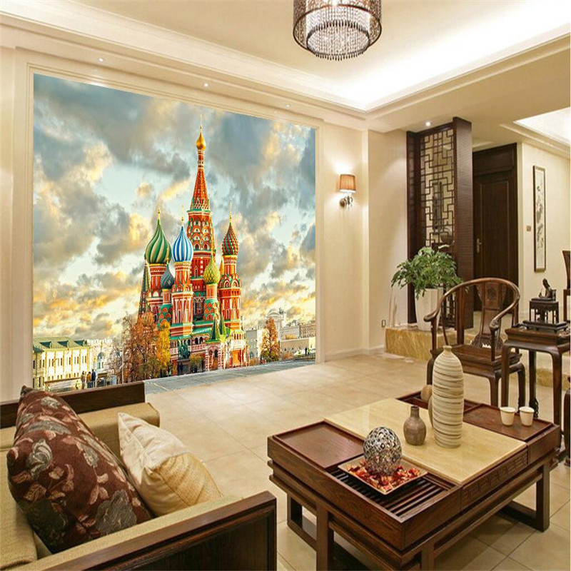 3D wallpaper home decor Photo background Red Square in Moscow Church of living room office large wallcovering wallpaper mural<br><br>Aliexpress