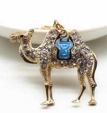 Fashion clear crystal rhinestones glazin cute desert camel pendant women purse handbag car key chain ring holder gold chain K065