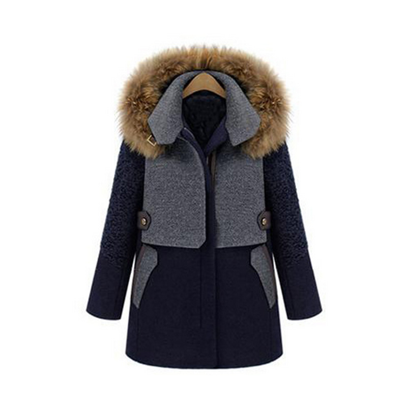 Fashion Winter Coat Women Jacket Fashion Slim Patchwork Long Coats Outerwear Hooded with Faux Fur H9Îäåæäà è àêñåññóàðû<br><br>