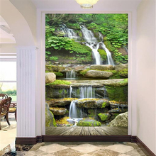 Beibehang Custom wallpaper corridor entrance background waterfalls home decoration 3d mural background wallpaper for walls 3 d(China)