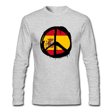 New Fashion Globe Spain Peace Logo T Shirts Men Long Sleeve Cool Printed Mens t-shirt O Neck Personality Man Tops Tee Euro Size