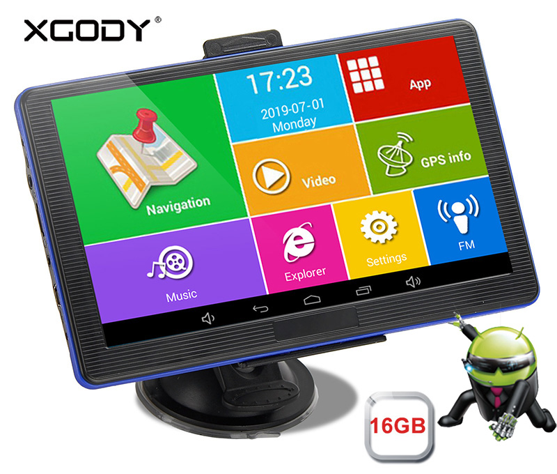 Xgody Gps Navigation Sat Nav Touch-Screen Android Car Wifi 16GB Spain 512M 886-Plus Free-Map title=