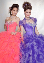 Multi Color Quinceanera Dresses Luxury Ruffles Beaded With Jacket Ball Gowns Organza Rainbow Custom Made Debutante Pageant Frock