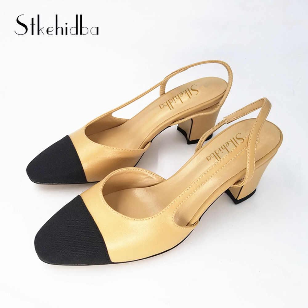 5e4585fbd6 Stkehidba Women's Shoes Hot Sale Genuine Leather Women Pumps Summer Shoes  kitten Heels Women's Sandals Plus