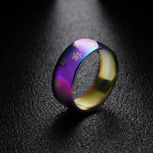 Cute Cat Dog Paw Ring Jewelry Width 8mm Stainless Steel Rainbow Rings for Men and Women Pet Animal Jewelry Lover Gift(China)
